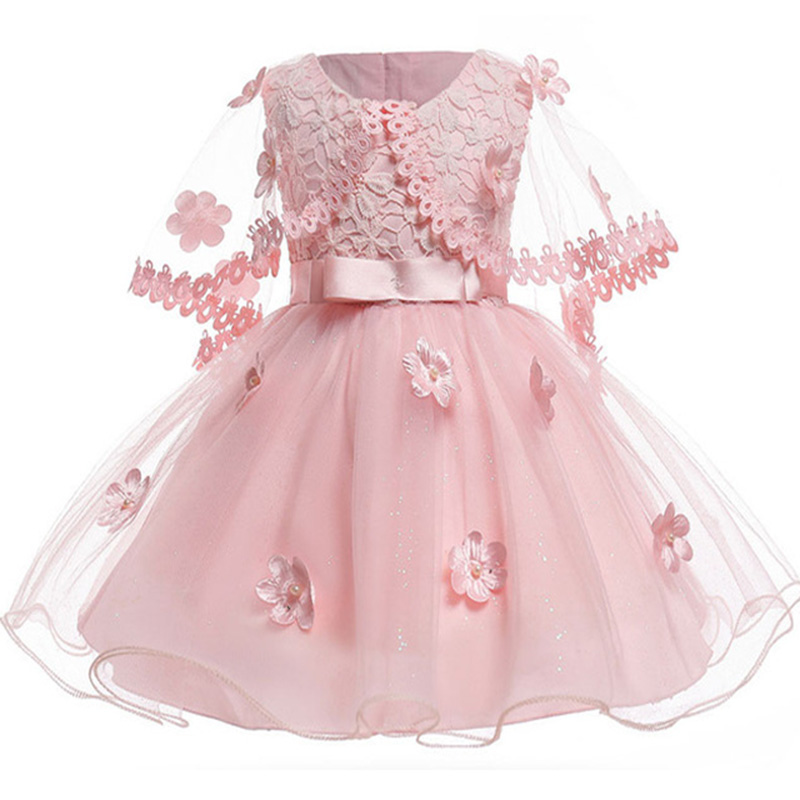 купить Baby Girl Vintage Pink Flower Infant Dresses Princess Baby Christening Dress Shawl Baptism 1st Birthday Wedding Party Dresses по цене 857.56 рублей