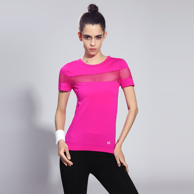 Detector Women Quick Dry Short Sleeve Running T-shirt Fitness Gym Tops Mesh  Patchwork Clothing Sport Yoga T-shirt Camisetas 3161cf31b