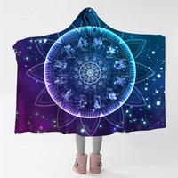 Zodiac Hooded Blanket Lotus Mandala Sherpa Fleece Throw Blanket With Hat Galaxy Constellations Wearable Blanket