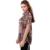 BFDADI 2016 fios Net tecido Verão Solta Casuais Blusa da Mulher gradiente de impressão da folha de Manga Curta Longa Blusa Plus Size Tops 3217