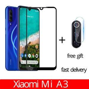 Image 1 - fast delivery 2 in 1 Xiaomi Mi A3 Camera Glass Film Xiaomi MIA3 Tempered Glass Full Case Cover for xiaomi mi a3 screen protector