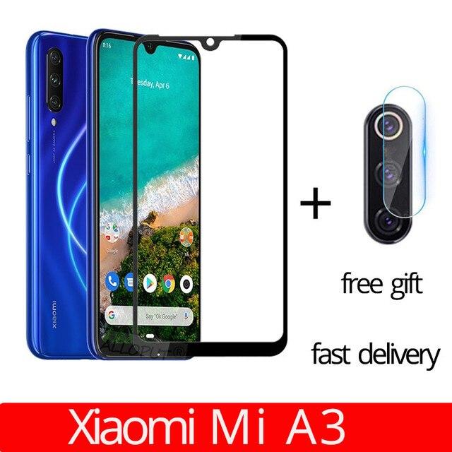 fast delivery 2 in 1 Xiaomi Mi A3 Camera Glass Film Xiaomi MIA3 Tempered Glass Full Case Cover for xiaomi mi a3 screen protector