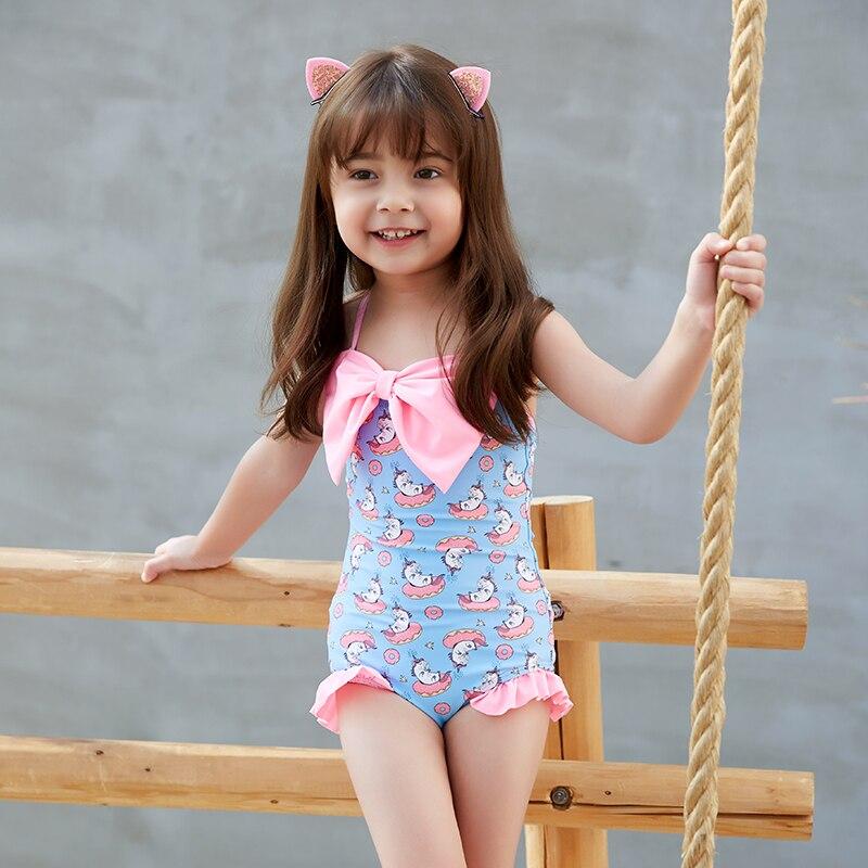 2019 New Baby Girl's Swimsuit Kid's One Piece Swimwear Children Bodysuit Pretty Bowknot Swimsuit For Girl Beachwear Monokini