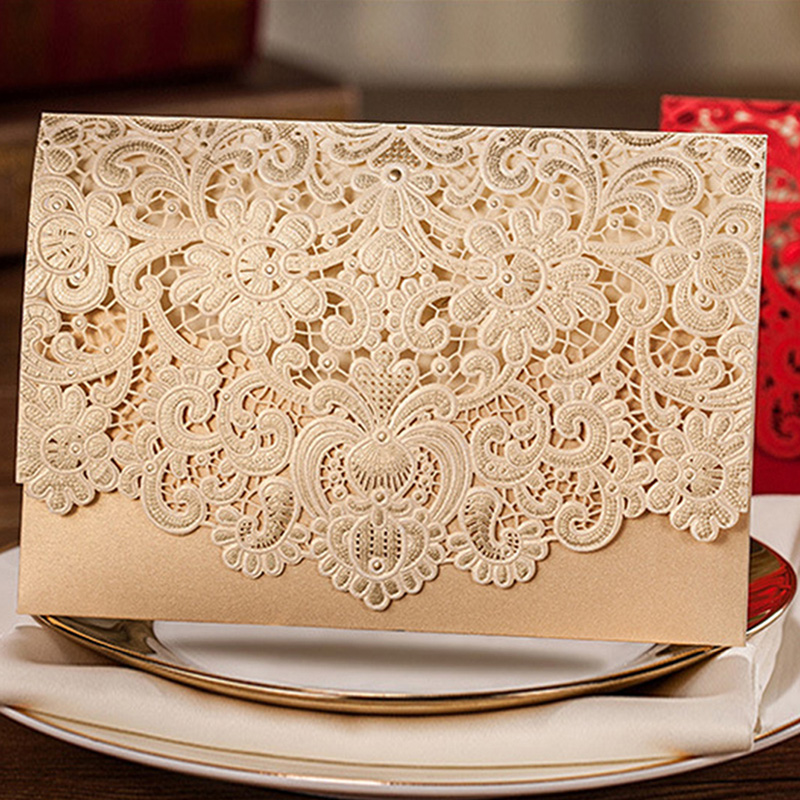 1pcs Gold Red White Laser Cut Luxury Flora Wedding Invitations Card Elegant Lace Favor Envelopes Wedding Party Decoration