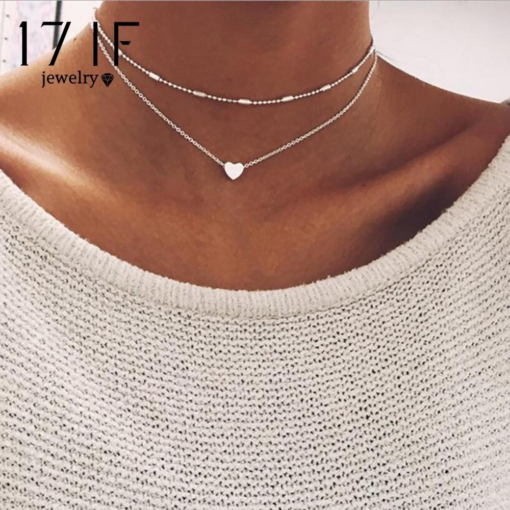 Daxi nova cor de prata ouro amor coração pingente colar corrente curta em camadas gargantilha colar feminino colar de indicação jóias presente