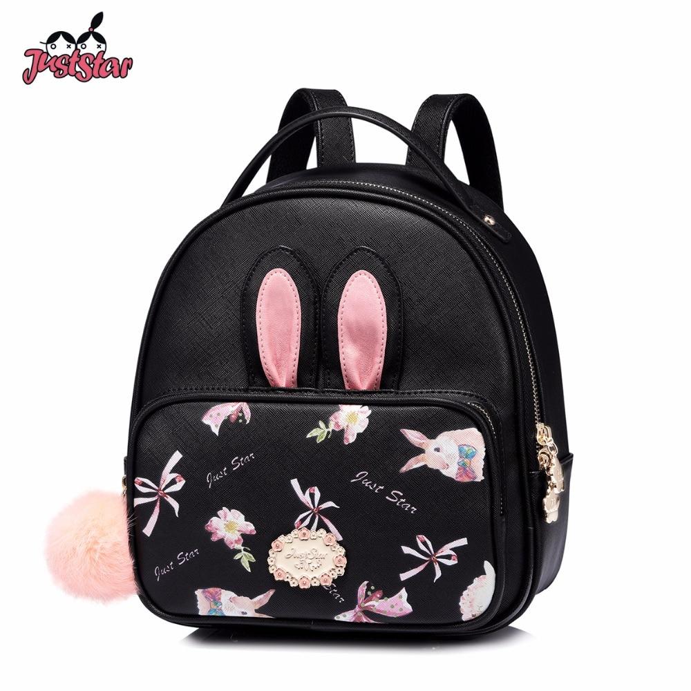 JUST STAR Women's Backpack Female Fashion PU Leather Cartoon Rabbit Printing Double Shoulder Bags Ladies Tassel Travel Rucksack