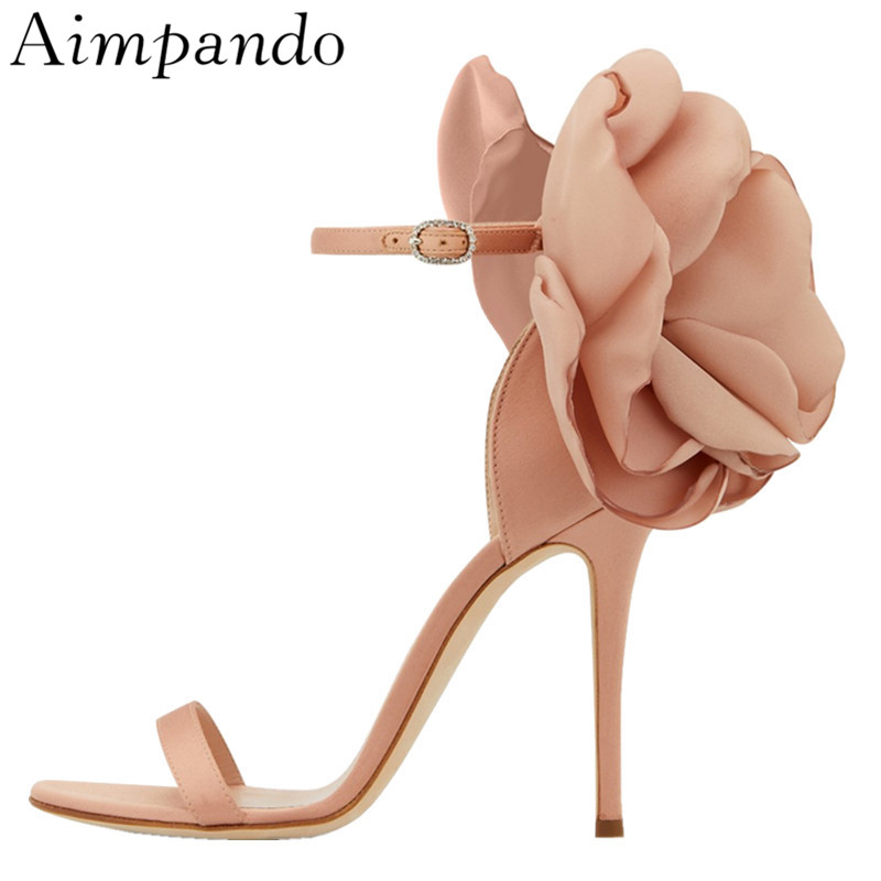 New Chic 2019 Luxury Satin Flower Party Sandals Women One-strap Thin Heels Sexy Applique Bridal Wedding Shoes Sandalias MujerNew Chic 2019 Luxury Satin Flower Party Sandals Women One-strap Thin Heels Sexy Applique Bridal Wedding Shoes Sandalias Mujer