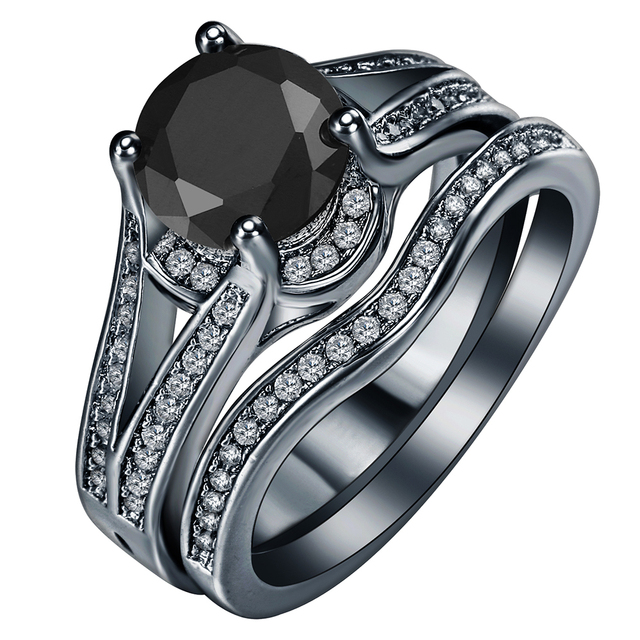 Royal Blue Black Fashion Gun Plated Cz Zircon Jewelry Whole Fast Shipping Wedding Rings Sets