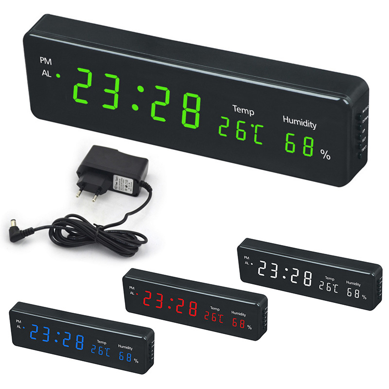 Electronic Led Digital Wall Clock With Temperature Humidity Display