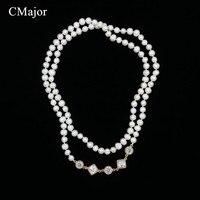 Cmajor النمط الأوروبي لؤلؤة مجوهرات المرأة الأزياء عالية الجودة جولة الأبيض الأسود الخرزة قلادة متعددة الطبقات طويل ماكسي