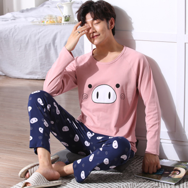 Yidanna Men Winter Long Sleeved Pajamas Set Sleep Clothing Cotton Sleepwear Nightwear Male Nighty Cartoon Casual O Neck Fashion