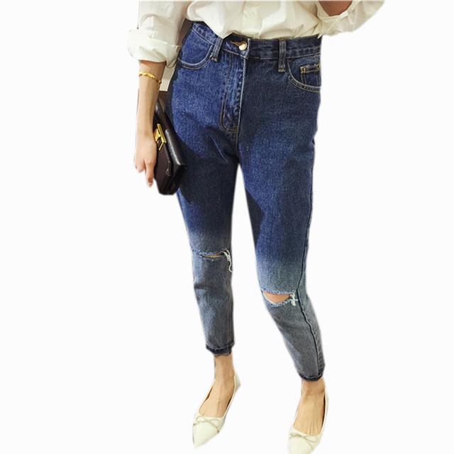 Primavera inverno Novas Mulheres Gradiente de Cor Do Vintage Calça Jeans Moda Jeans Rasgado Buraco Casuais Calças Retas Calças Jeans Boyfriend