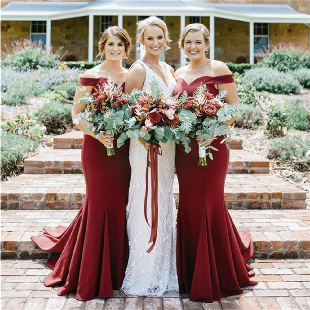 Elegant Dark Red Mermaid   Bridesmaid     Dresses   Boat Neck Off The Shoulder Custom Made Maid Of Honor   Dress   Cheap Women Party Gowns
