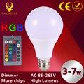 O Poder Superior Conduziu a Lâmpada Dimmable E27 RGB Conduziu a Lâmpada de Iluminação Para Casa de Férias lâmpada COB 3 W 5 W 7 W Controle Remoto 16 Mudança de Cor 110 V 220 V