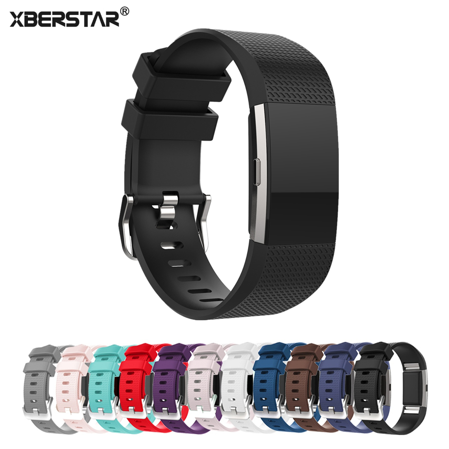 XBERSTAR Watchband Strap for Fitbit Charge 2 Charge2 Heart Rate & Activity Tracker Sports Silicone Bracelet Strap bridgestone blizzak spike 01 185 60 r14 82t