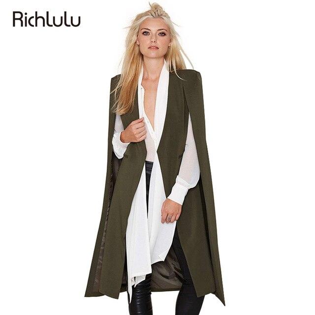 RichLuLu Женщины Новая Мода 3 Цвета Вскользь Ярусный Пальто Свободные Кабо Пончо Плащ Открыть Длинные Стежка Плащ И Пиджаки