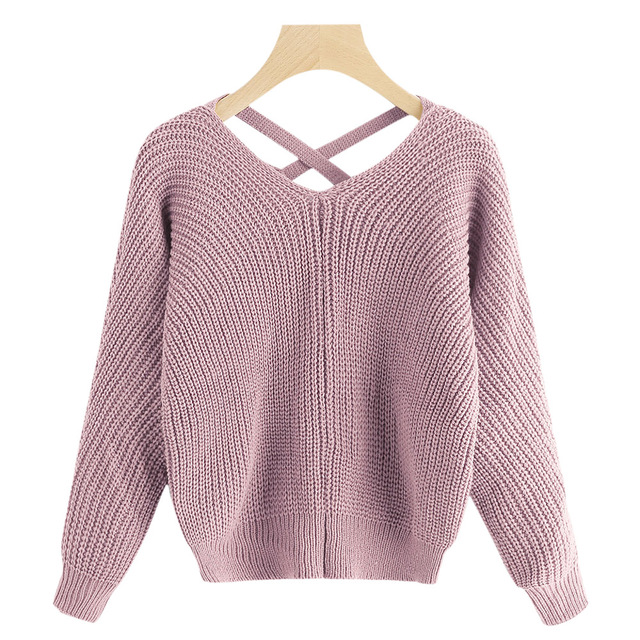74b3bba484 Wipalo Criss Cross V Neck Pullover Sweater Back Hollow Out Bandage Women Jumpers  Pullovers Long Sleeve