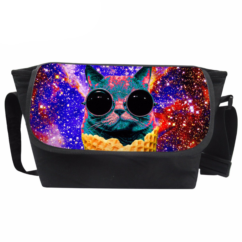 Messenger Bag Women Galaxy Animals Printing Bag Ladies Glasses Cat Pattern Shoulder Bag for Females Stylish Bolsa