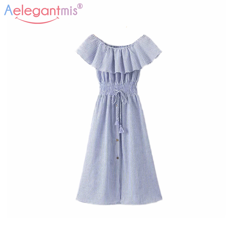 Aelegantmis Sexy Off Shoulder Party Dress Women Sleeveless Slim Striped Ruffles Summer Mid Dress Ladies Slash Neck A-Line Dress