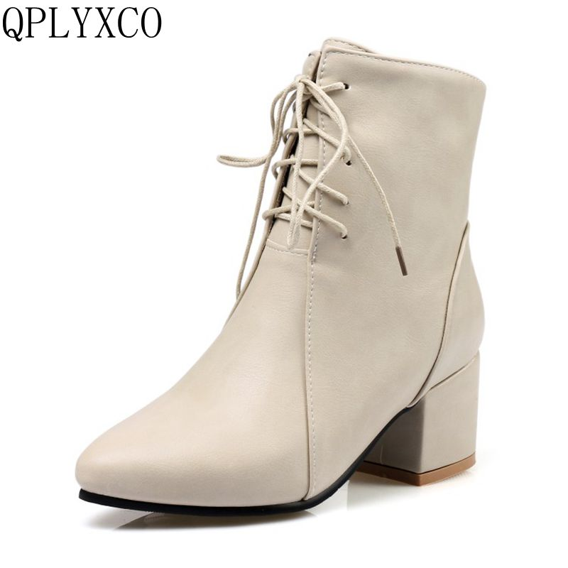 QPLYXCO New Sale Ladies Big size 32-45 ankle boot short Sexy Women's pointed Toe Lace up heel shoes Party shoes C9-24 qplyxco 2017 sale big