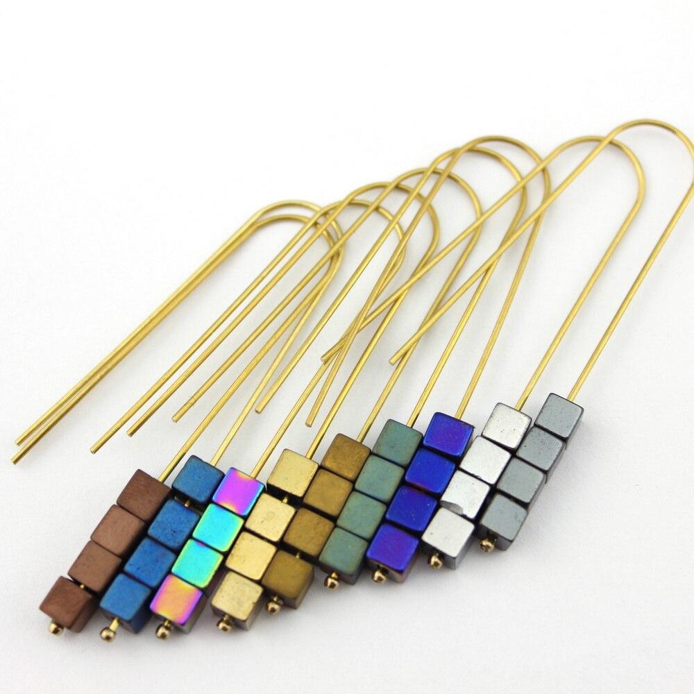 2017 Women Geometric Cube Motif Hook Earrings Green Arrow Hematite Earrings Vintage Gold Alloy Chevron Earrings Women Jewelry