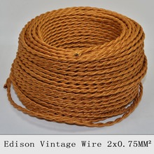 2*0.75mm2 Edison Vintage Twisted Electrical Wire Gold Knitted Cloth Copper Pendant light Cable Textile Fabric Lamp Cord 5/10M