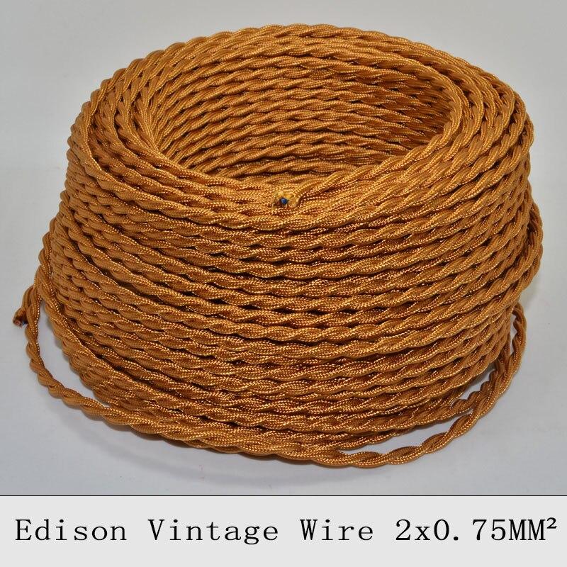 2*0.75mm2 Edison Vintage trenzado alambre eléctrico oro tejido cobre colgante Cable de luz tela textil Cable de lámpara 5 /10 M 7