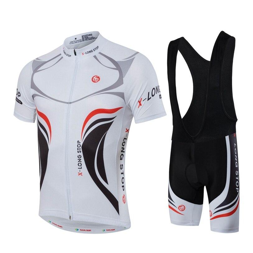 b9a7aa9db HOT SAIL SUN Men bike Jersey or Cycling Bib Shorts MTB Clothing White Black Summer  Male