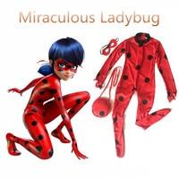 2017 Girls Kids Miraculous Ladybug Cosplay Costume With Mask Ladybug Romper Costume Cat Suit Children S