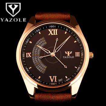 Men Business Watch 2019 New Stylish YAZOLE Top Brand Quartz Clock Leather Watchband Rose Gold Dial Clock montre homme
