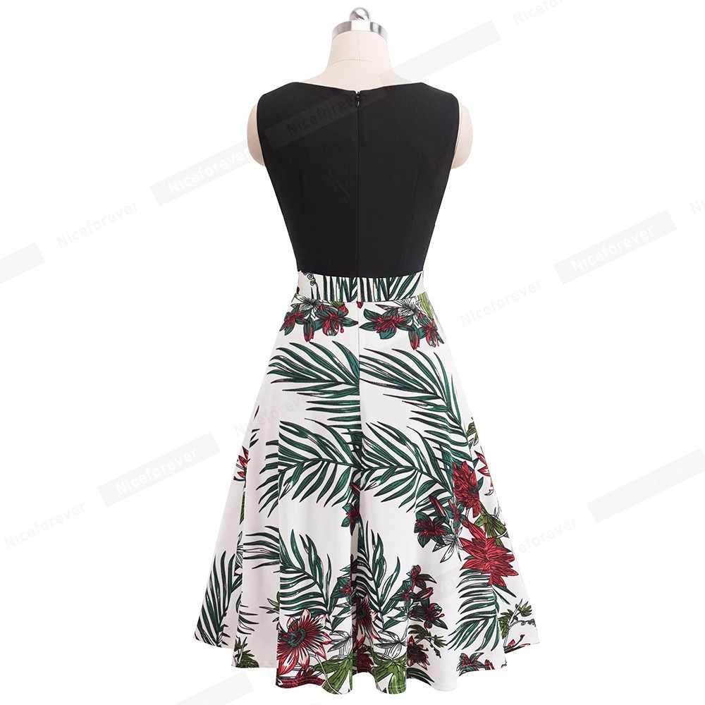 Nice-forever Винтаж элегантный цветочный Рисунок асимметричным вырезом vestidos платье трапециевидной формы платье пинап с Бизнес Для женщин вечерние расклешенное летнее платье A090