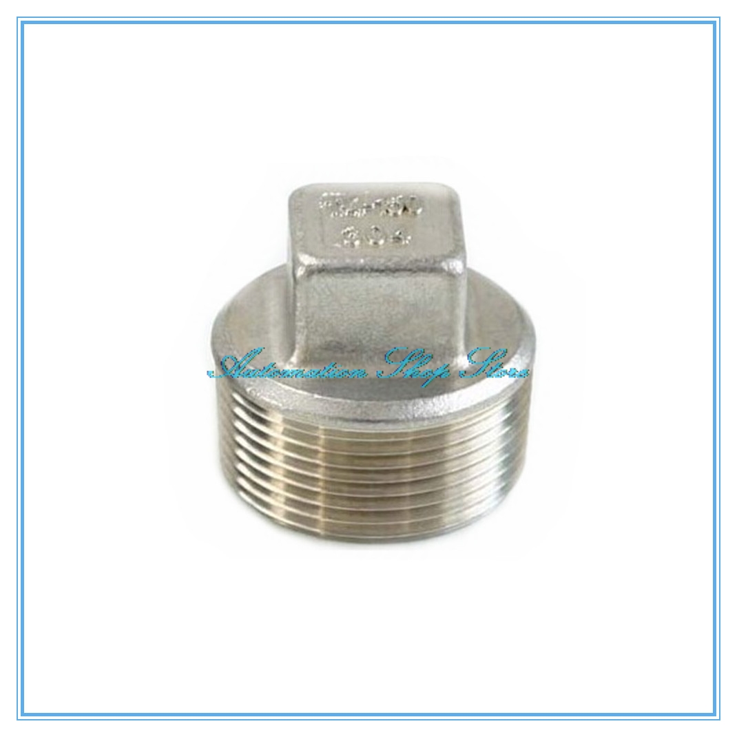 "1//8/"" Malleable Square Head Pipe Fitting Plug Threaded Male SS 304 BSPT"
