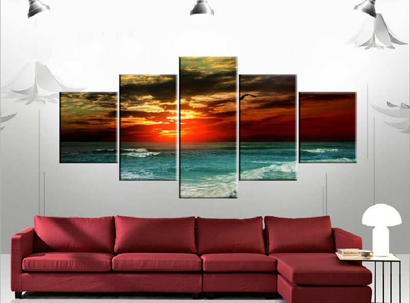 5 pieces canvas Free shipping wall art picture Popular painting ...