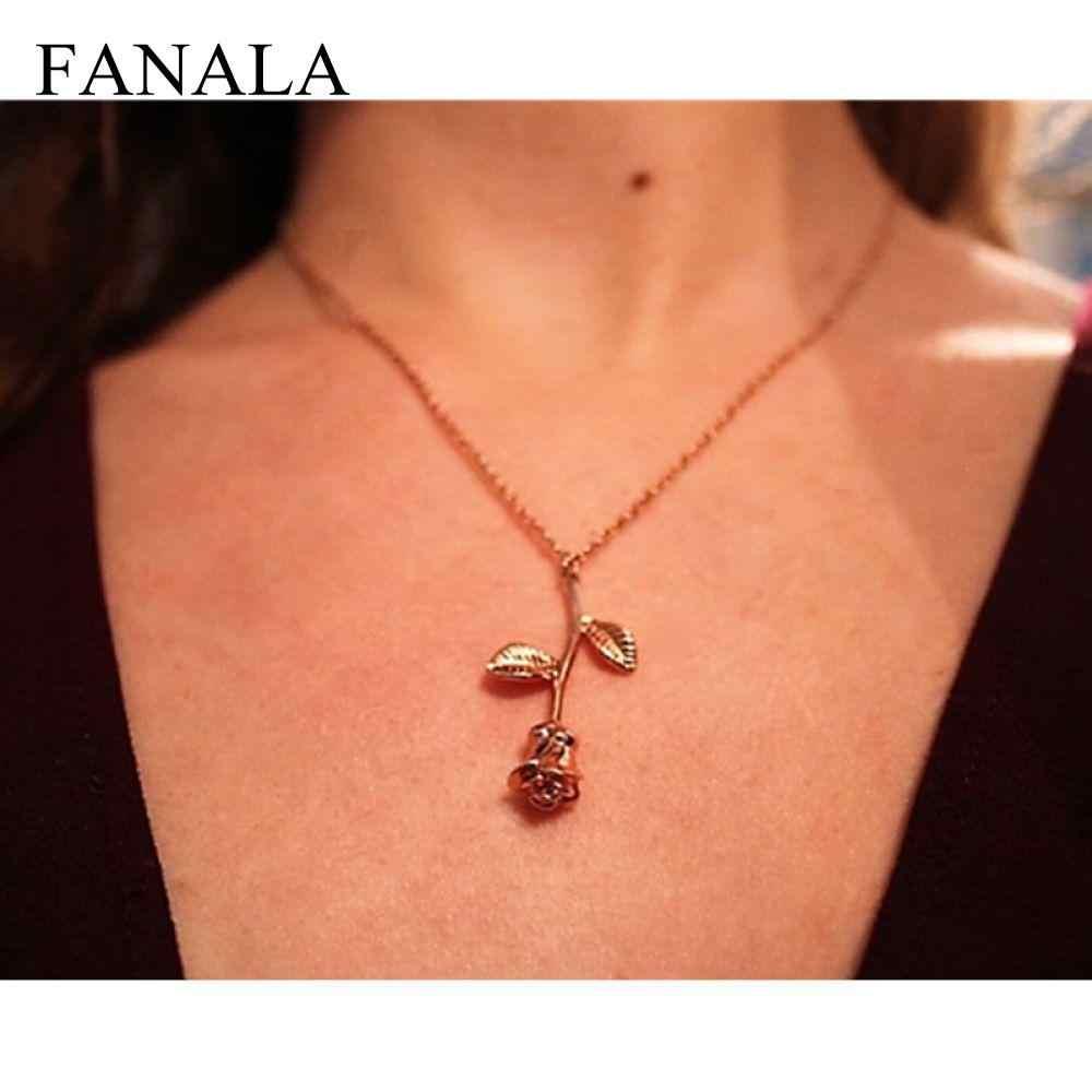 FANALA New Pink Rose Gold Flower Choker Statement Necklace Bijoux Collier Femme Women Charm Maxi Boho Jewelry
