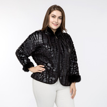 Women's Plus Size Faux Crocodile Leather Jacket with Stand Collar