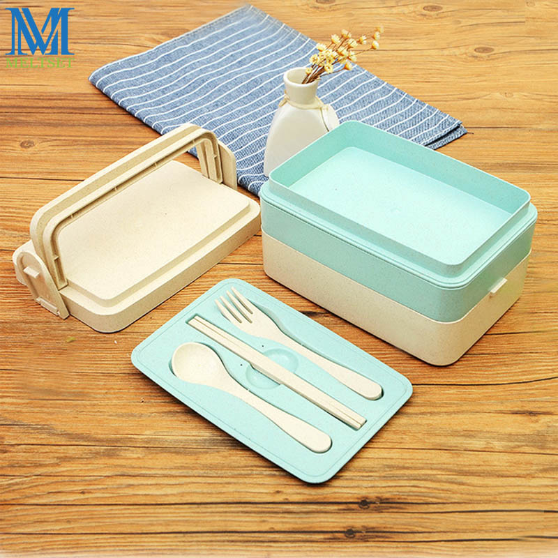 Portable Lunch Box With Tableware Set Wheat Straw Bento Box Double Three Layer Fruit Vegetable Storage