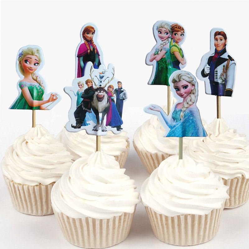 DISNEY Elsa Anna Olaf FROZEN Pink Princess Birthday Party A4 ICING Cake Toppers