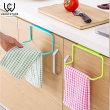 Hot Kitchen Towel Hanging Rack Holder Rail Organizer Free Nail Over Door Back Bathroom Cabinet Cupboard Hanger