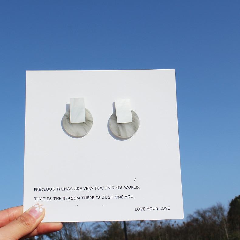 Simple Handmade Stud Earrings Acrylic Geometric White Shells Ink Marbling Pattern Earrin ...