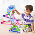 Intellectual Puzzle Assembling Blocks Toy for Children Baby Pig Climb the Stairs Rail Track Electric Light Music Toys