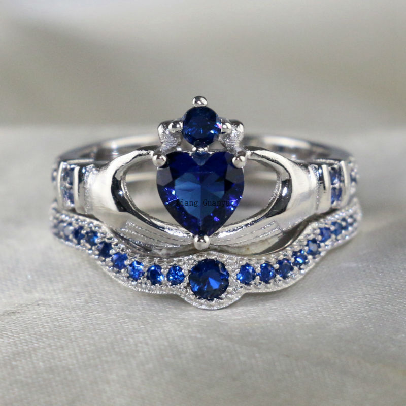 Claddagh Ring White Gold Filled Heart Blue Zircon Wedding Band