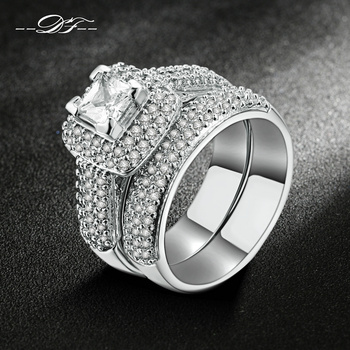 Top Quality White Gold Plated AAA+ Cubic Zirconia Rings Sets Fashion Brand Jewel