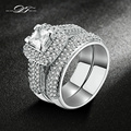 Top Quality White Gold Plated AAA+ Cubic Zirconia Rings Sets Fashion Brand Jewelry Wedding & Engagement Ring For Women DFR568