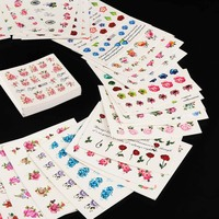 50 Sheets Beautiful Mixed Flower Nail Stickers 50 Styles Water Transfer Sticker Nail Art Decals DIY Decor Temporary Tattoos Stickers & Decals