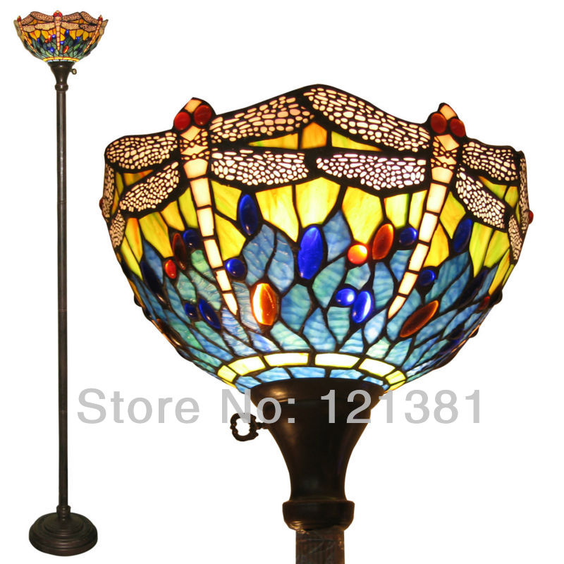 Classic Design Tiffany Lamp Blue Dragonfly Torchiere For Living
