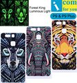 Tiger Lion Wolf Cover Case For Huawei P9 Plus Forest King Light Glow in the Dark Night Luminous