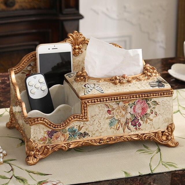 european large multifunctional tissue box decorative remote storage