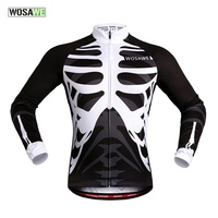 WOSAWE Men's Women's Skeleton Cycling Jerseys Clothing Bicycle Ciclismo Long Sleeve Tops Bike Jacket Breathable Sports Clothing