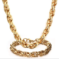 Mprainbow Mens Necklaces Stainless Steel Wheat Chain Choker Necklace Link Gold Tone Bracelet For Men Fashion