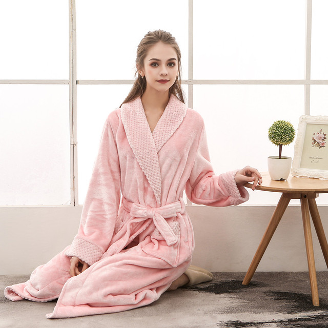 Night dress women bathrobe cotton robe Women's Winter Plush Shawl Bathrobes Long Sleeved Robes